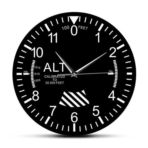 Classic Altimeter Round Wall Clock Modern Altimeter Instrument Style Wall Clock Pilot Air Plane Altitude Measurement Home Decor