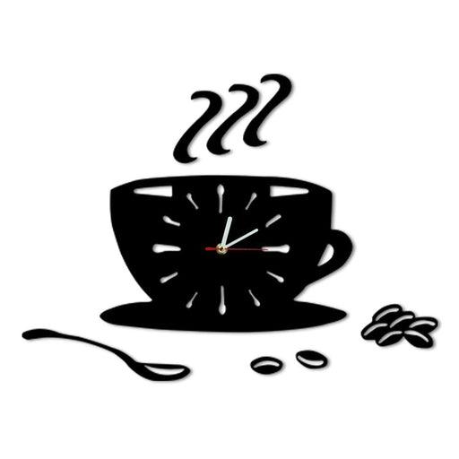 Coffee Shop Fashion Art Coffee DIY Wall Clock Cafe Beans Acrylic Mirror Effect Hanging Coffee Cup Modern Kitchen Clock Watch