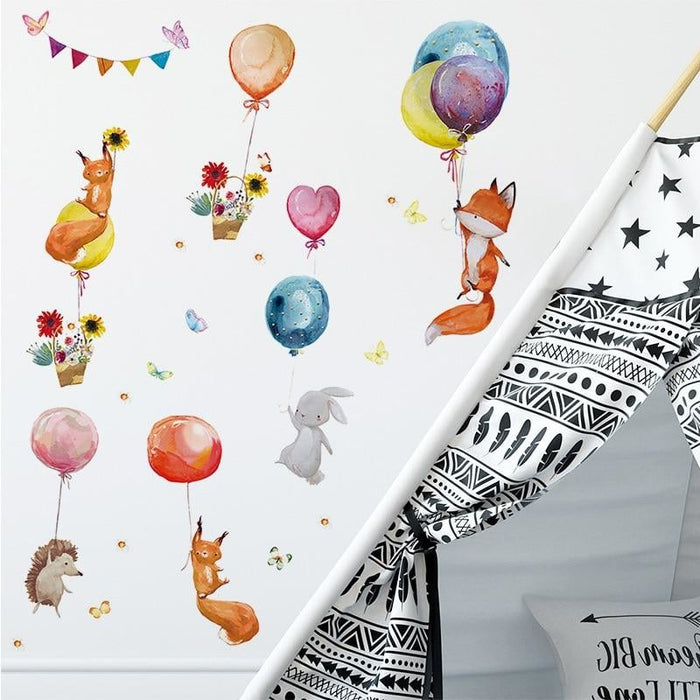 Cartoon Colorful Balloons Animals Wall Stickers for Kids