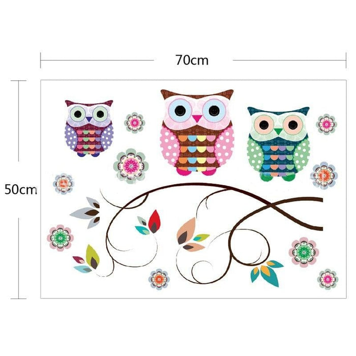 New Colorful Owls on the Tree Branches Wall Stickers for