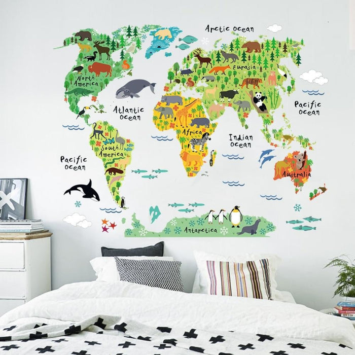 Colorful World Map Wall Sticker Home Decor Wall Decal Vinyl
