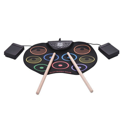 Compact Size Roll-Up Drum Set Electronic Drum Kit 9 Silicon Drum Pads USB/Battery Powered with Drumsticks Foot Pedals for Kids