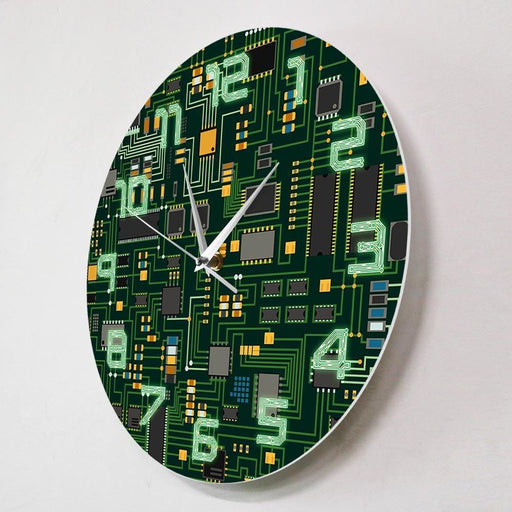 Computer Electronic Chip Circuit Board Geeky Wall Clock Green PC Circuit Board Print Art Wall Watch Engineer Gift Office Decor