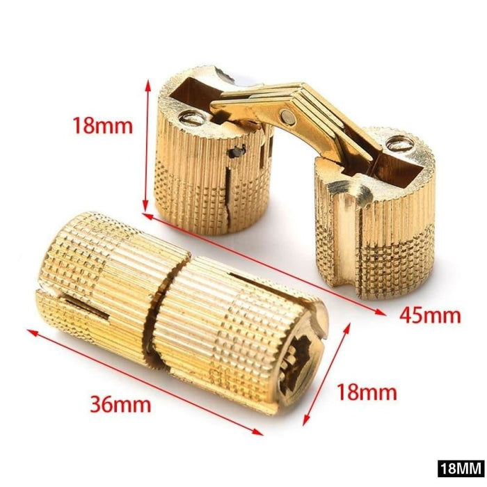 NAIERDI Copper Brass Furniture Hinges 8-18mm Cylindrical Hidden Cabinet Concealed Invisible Door Hinges For Hardware Gift Box