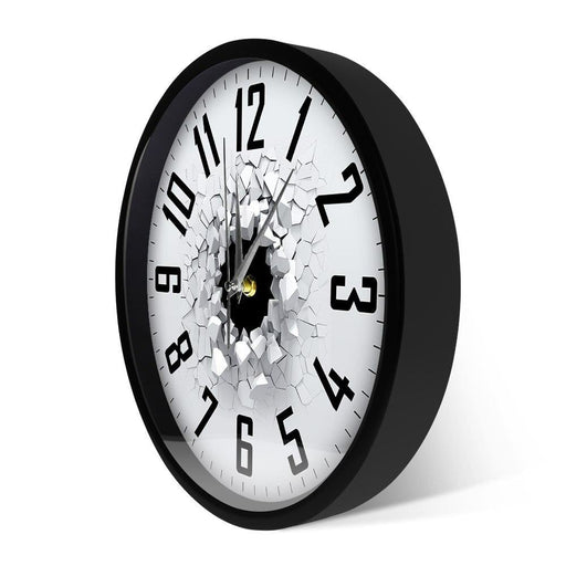Cracked Wall 3D Metal Frame Wall Clock Home Decor Lighted Glow in Dark with LED illumination Smart Wall Clock With Sound Control