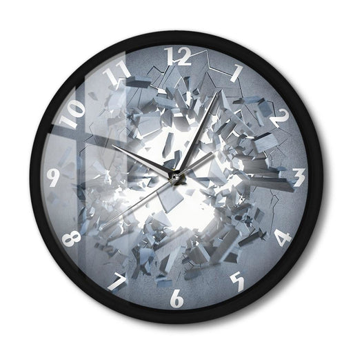 Cracked Wall Abstract 3D Wall Clock Modern Design Metal Frame Round Clock For Bedroom Voice Control Smart Wall Watch LED Light