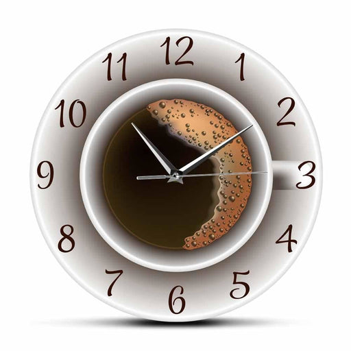 Cup of Coffee with Foam Decorative Silent Wall Clock Kitchen Decor Coffee Shop Wall Sign Timepiece Cafe Style Hanging Wall Watch