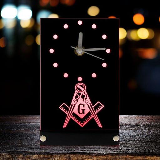 Masonic Mason Freemason Emblem Table Clock With LED Backlight Masonic Square And Compass Freemason Logo LED Neon Sign Desk Clock