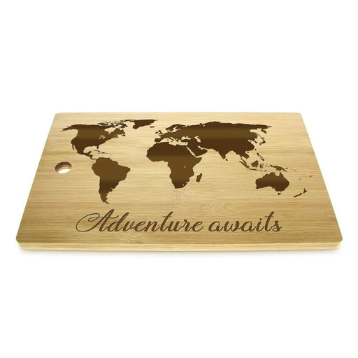 Adventure Awaits Laser Engraved World Map Cutting Board Travel Map Wood Kitchen Chopping Board Butcher Block  Bridal Shower Gift
