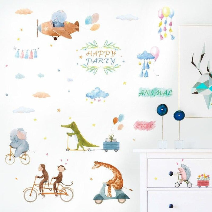 Cartoon Cute Animal on the Bike Airplane Wall Stickers for