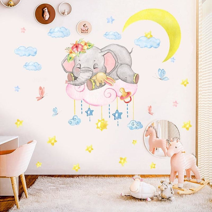Cute Baby Elephant on the Moon Wall Stickers for Kids Room