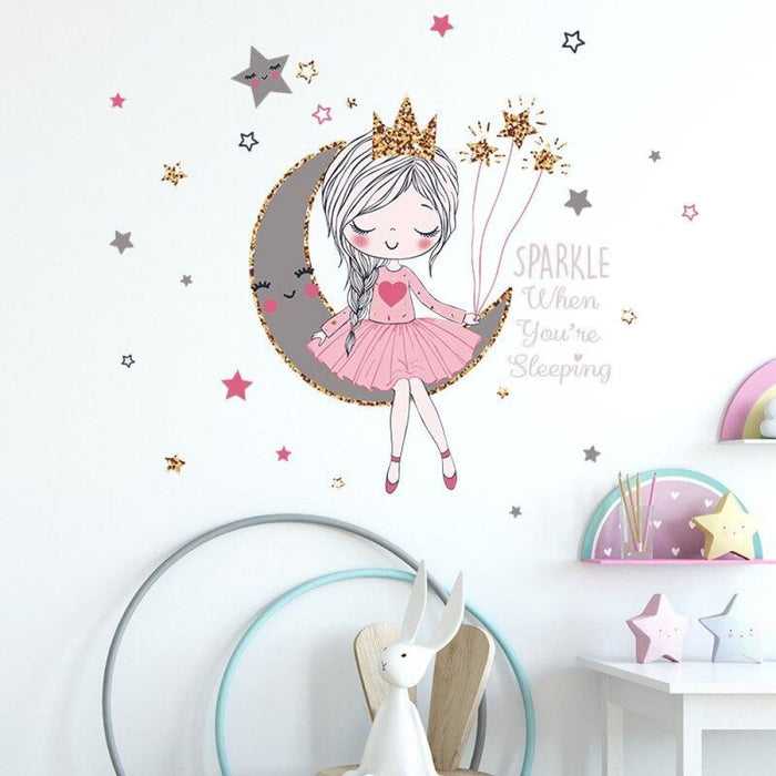 BRUP Cartoon Cute Princess Wall Stickers for Kids Room Baby
