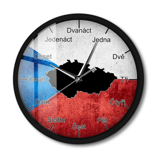 Czech Republic Map With Flag Silent Wall Clock With LED Night Light Czech Language Sound Activated Smart Wall Clock Home Decor