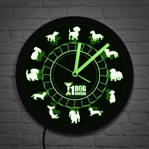 Champion Dog Breed Dachshund Wall Clock Dachs Sausage Dog Vintage Clock With LED Lighting Color Change Neon Sign Dog Lover Gift