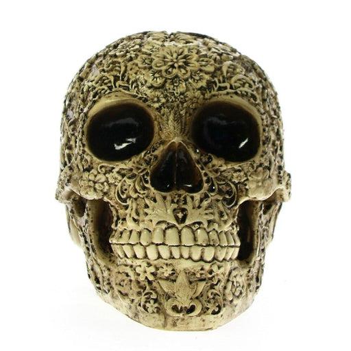 Day Of The Dead Deorative Floral Skull Statue Figurine Dia de los muertos Skeleton Flower Skull Head Desktop Scary Scuplture