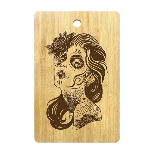 Day of the Dead Girl Design Personalized Wood Cutting Board Dia De Los Mexican Rose Sugar Skull Girl Portrait Kitchen Wood Board