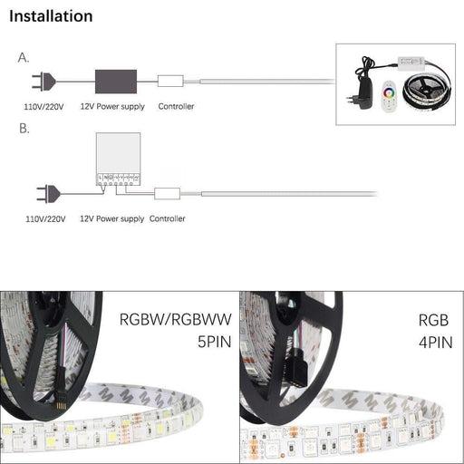 DC12V LED strip 5050 RGB RGBW RGBWW 5M 60LED/m IP65 Waterproof 5050 LED Strip Light RGB+White / RGB+ Warm white