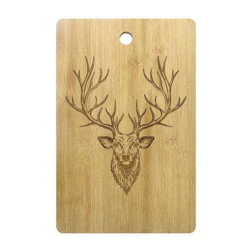 Buck Deer Personalized Engraved Wood Cutting Board Chopping Block Deer Head Antlers Bamboo Butcher Block Custom Deer Hunter Gift