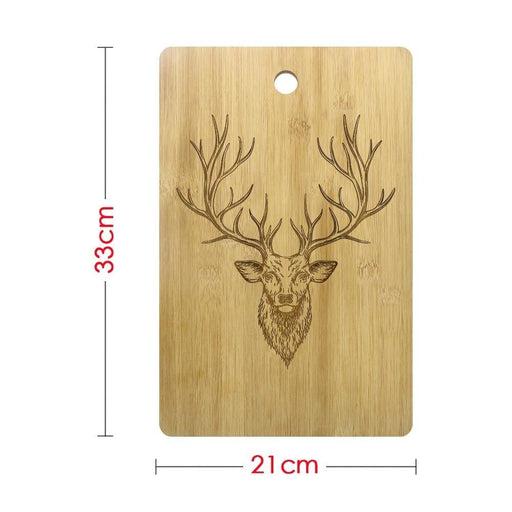 Buck Deer Personalized Engraved Wood Cutting Board Chopping Block Deer Head Antlers Bamboo Butcher Block Custom Deer Hunter Gift (330x210mm)