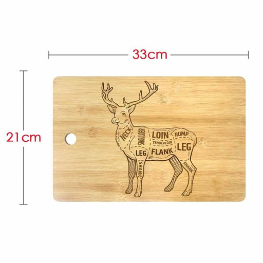 Deer ?Meat Cuts With Elements And Names Laser Engrave Custom Cutting Board Personalized Deer Diagram Scheme Chef Butcher Block (330x210mm)