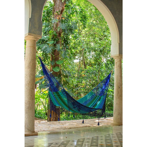 Deluxe Outdoor Cotton Mexican Hammock in Caribe Colour -