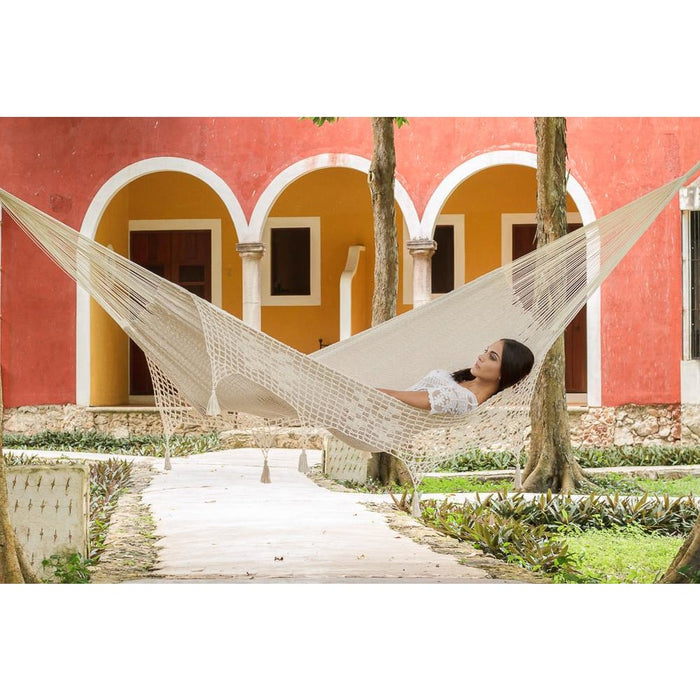 Deluxe Outdoor Cotton Mexican Hammock in Cream Colour King
