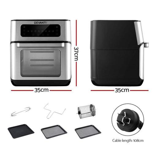 Devanti 10L Air Fryer LCD Fryers Oven Healthy Cooker Oil