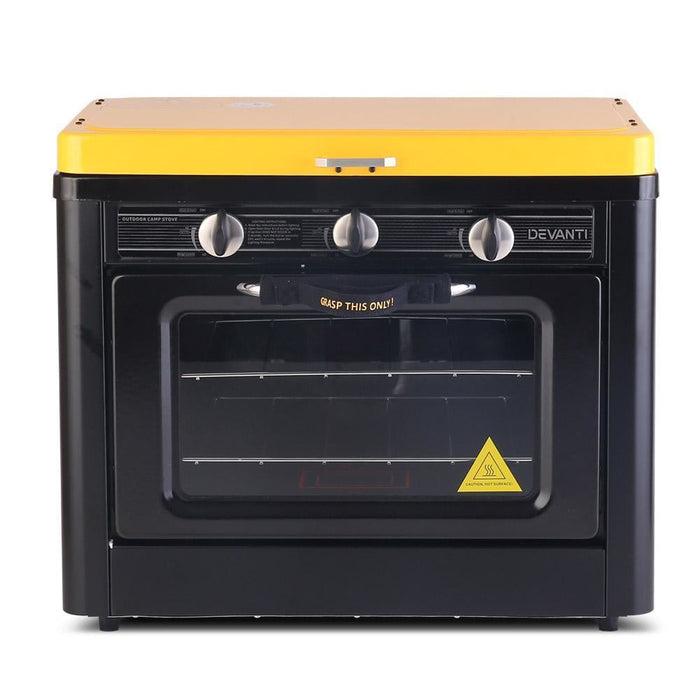 Devanti 3 Burner Portable Oven - Black & Yellow goslash fast delivery fast delivery