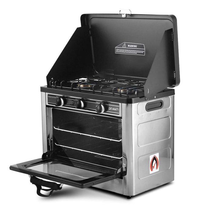 Devanti 3 Burner Portable Oven - Silver & Black goslash fast delivery fast delivery