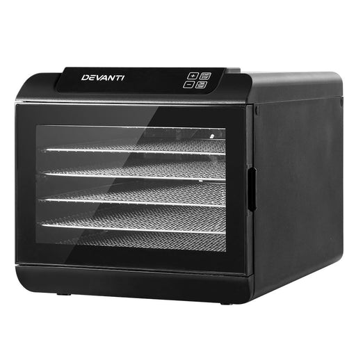 Devanti 6 Tray Food Dehydrators Commercial Beef Jerky Maker Fruit Dryer Black