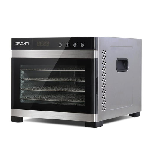 DEVANTi 6 Trays Commercial Food Dehydrator Stainless Steel Fruit Dryer goslash fast delivery fast delivery