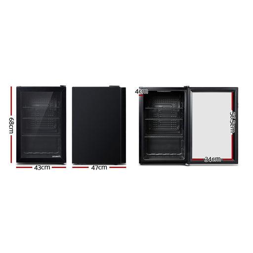 Devanti 70l Bar Fridge Glass Door Mini Countertop Freezer