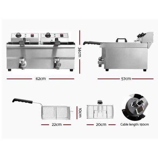 Devanti Commercial Electric Deep Fryer Twin Frying Basket