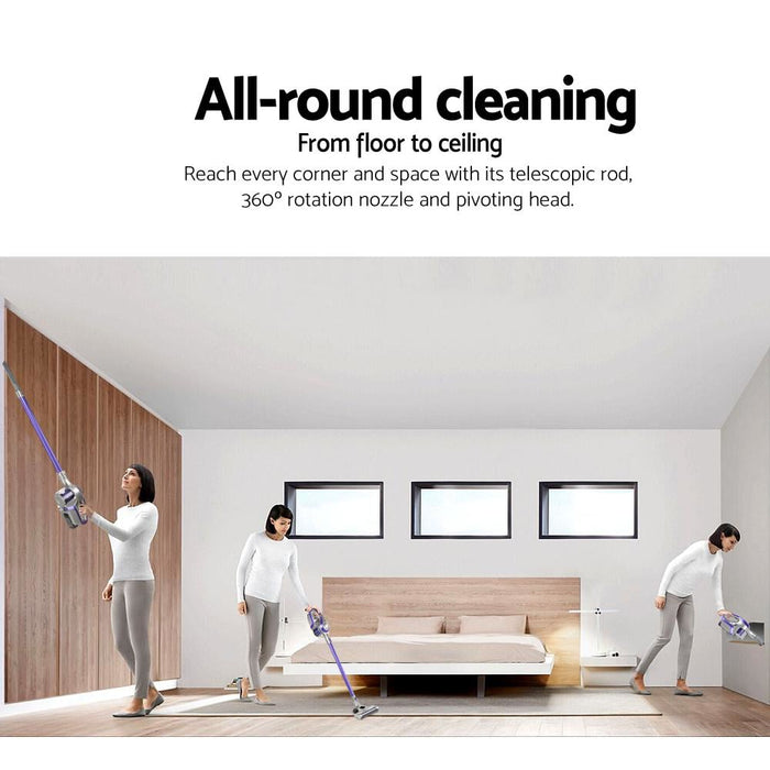 Devanti Cordless Stick Vacuum Cleaner - Purple & Grey -