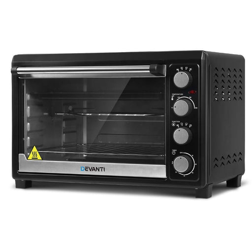 Devanti Electric Convection Oven Benchtop Rotisserie Grill 45L Black goslash fast delivery fast delivery