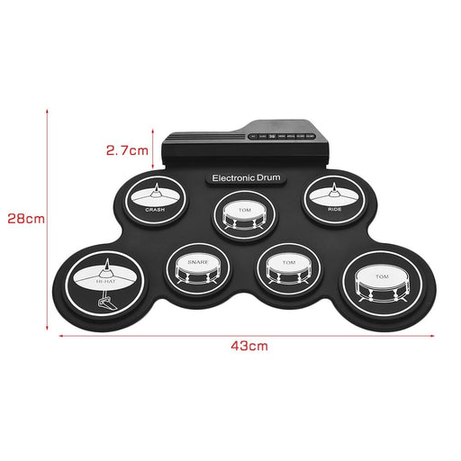 Digital Roll-Up Drum Set USB Electronic Drum Kit Silicon 7 Drum Pads with Drumsticks Foot Pedals for Beginners Children Kids