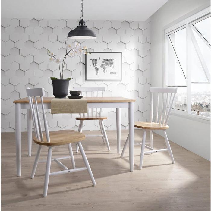 Dining Table Solid Rubberwood Danish Natural Oak - Furniture