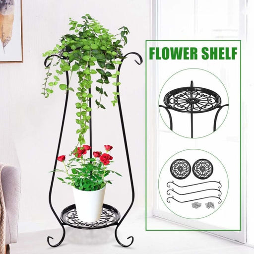 Double-layer Plant Stand Flower Shelf Iron Indoor Living