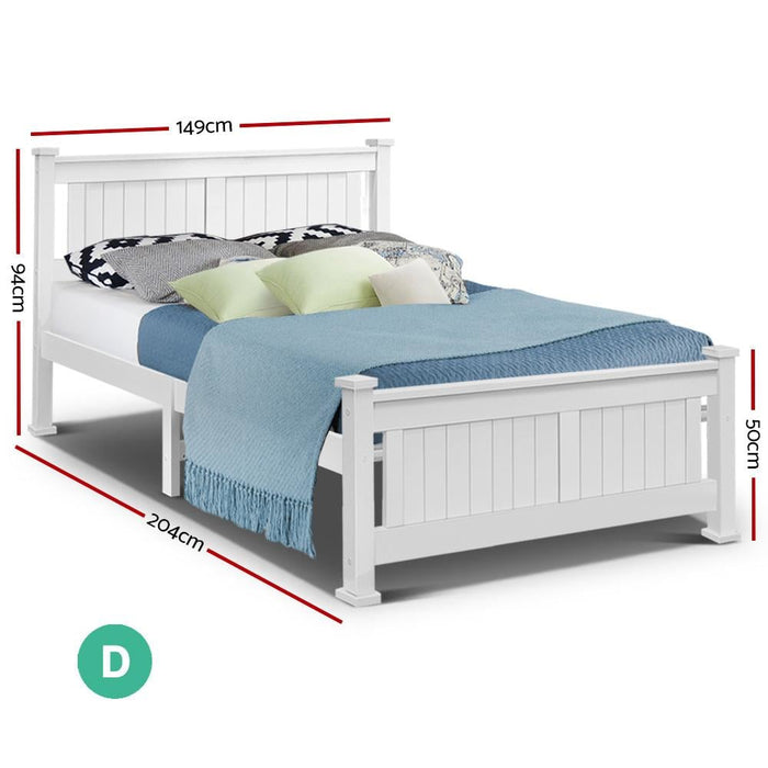 Double Size Wooden Bed Frame - White - Furniture > Bedroom
