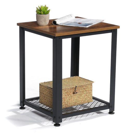 Douxlife DL-ET01 2 Layers End Side Table Square Desk Bedside Cabinets Coffee Tea Table Organizer Racks with Adjustable Foot Pad for Living Room Bedroom