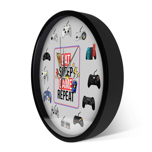 Eat Sleep Game Repeat Gamepad Controllers Metal Frame Wall Clock For Game Room Gamer Wall Art Sound Activated LED Light Clock