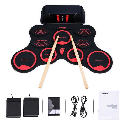 ammoon Electric Drum Digital Roll-Up MIDI Drum Set 9 Silicon Durm Pad Built-in Speakers Rechargeable Battery with 2 Foot Pedals
