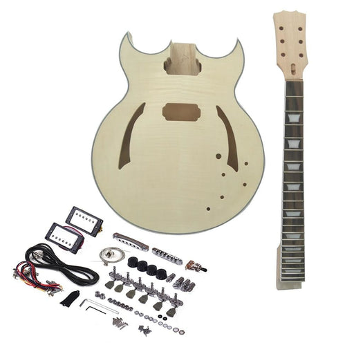 ammoon Electric Guitar Unfinished Guitar DIY Kit Semi Hollow Basswood Body Rosewood Fingerboard Maple Neck