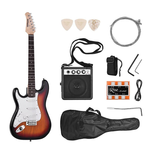 ammoon Electric Guitar Solid Wood Left Handed Guitar Electric 21 Frets 6 String with Speaker Pitch Pipe Guitar Bag Strap Picks