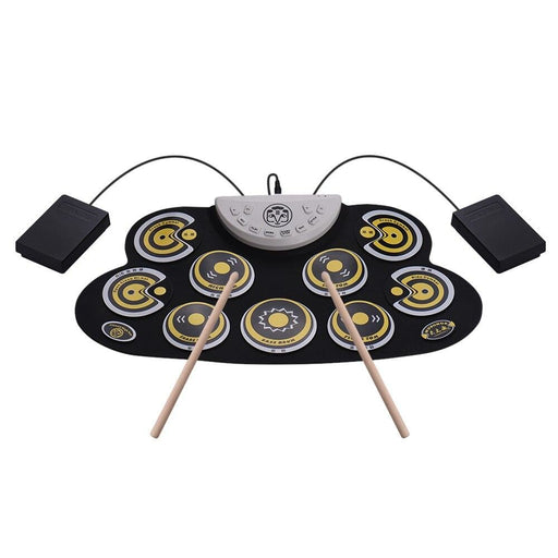 Portable Electronic Drum Pad Silicone Roll Up Drum Set with Drum Sticks Foot Pedals Cartoon Design Digital Drum for Beginners