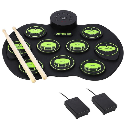 ammoon Electronic Drum Set Digital Roll-Up Drum Pad 9 Pads 2 Foot Pedals Drum Sticks for Kids Children Beginners No Speakers