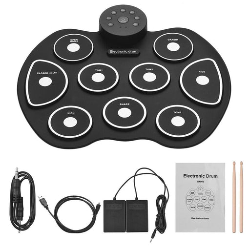 Electronic Drum USB Roll-Up Drum Set Digital Silicon Drum Kit 9 Drum Pads with Drumsticks Foot Pedals for Beginner Children Kids