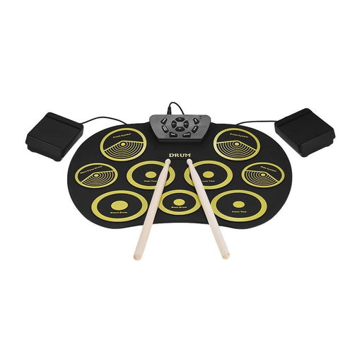 Portable Electronics Drum Set Roll Up Drum Kit 9 Silicon Pads USB Powered with Foot Pedals Drumsticks USB Cable