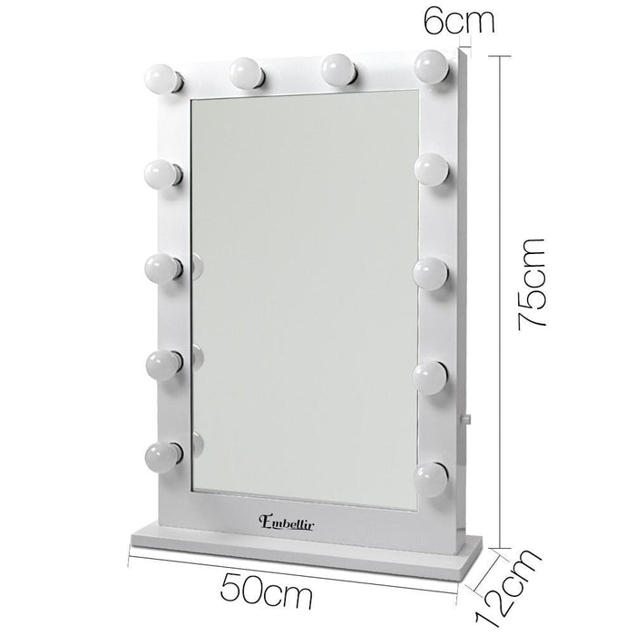Embellir Make up Mirror with Led Lights - White - Health &