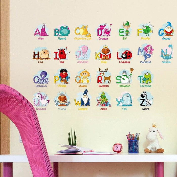 Cartoon Alphabet Wall Stickers A-Z English Letters Home